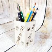 Stiftehalter für die Einschulung, Schulbedarf, personalisiertes Geschenk, sechsseitige Gravur, Namensgravur Bild 2