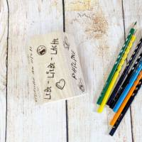 Stiftehalter für die Einschulung, Schulbedarf, personalisiertes Geschenk, sechsseitige Gravur, Namensgravur Bild 6