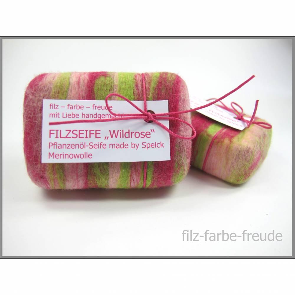 Filzseife 100g Wildrose, Seife umfilzt, Seife eingefilzt,  Pflanzenölseife, Geschenk, Muttertag, Speick Bild 1