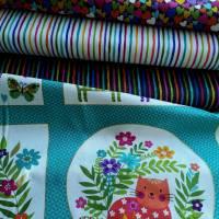 """Stoffpaket """"Katies Cats"""" Panel mit 3 passenden Stoffen für Patchwork, Nähen, Quilten Bild 1"""