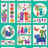 """Stoffpaket """"Katies Cats"""" Panel mit 3 passenden Stoffen für Patchwork, Nähen, Quilten Bild 2"""
