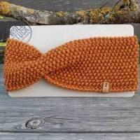 Stirnband mit Twist handgestrickt - Wolle (Merino) - cognac-orange Bild 1