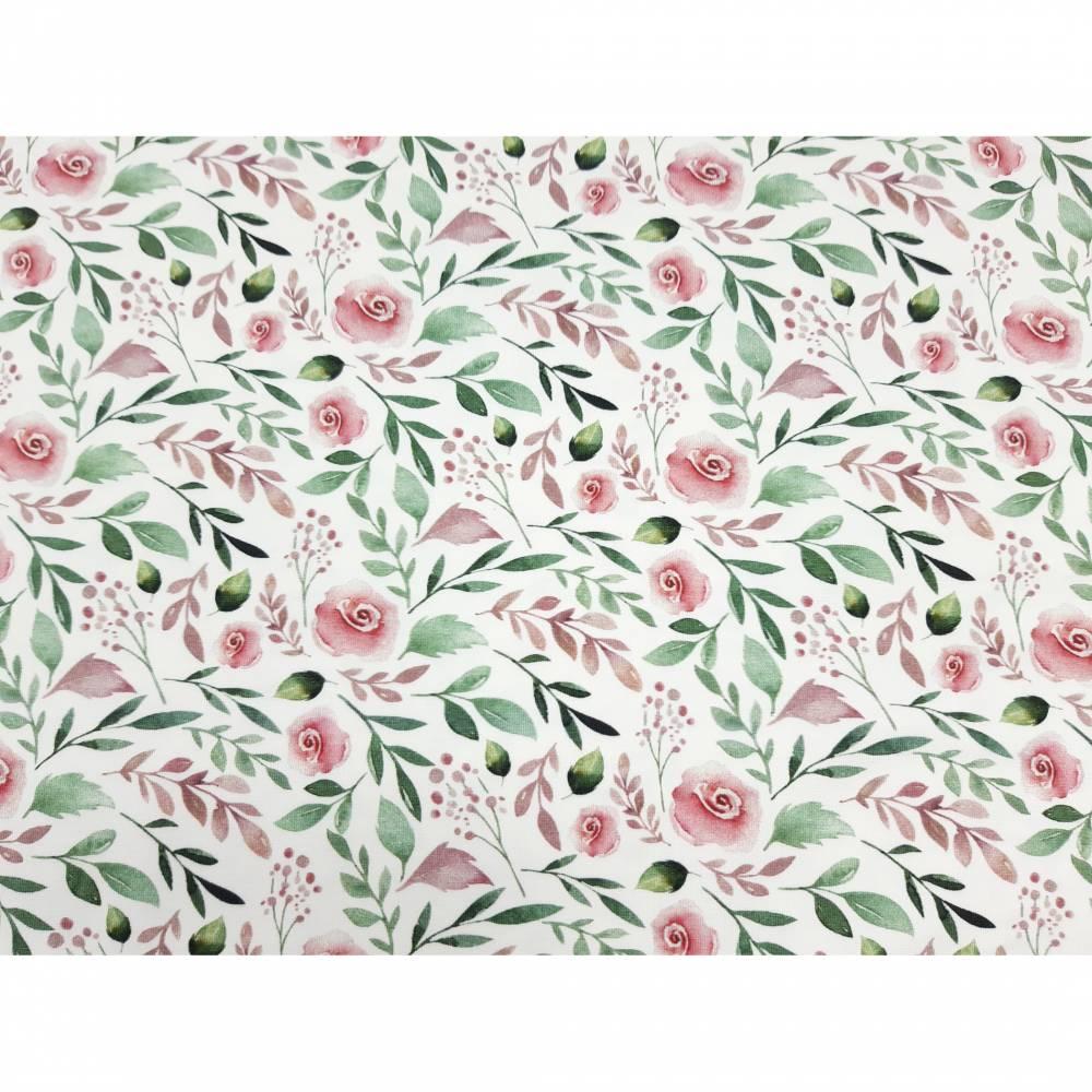 Jersey Stoff mit kleinen Rosen, weiß, rosa grün Bild 1
