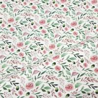 Jersey Stoff mit kleinen Rosen, weiß, rosa grün Bild 2