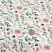 Jersey Stoff mit kleinen Rosen, weiß, rosa grün Bild 4