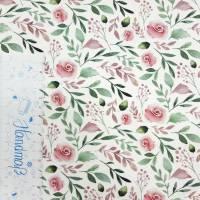 Jersey Stoff mit kleinen Rosen, weiß, rosa grün Bild 6