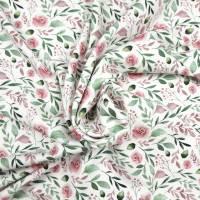 Jersey Stoff mit kleinen Rosen, weiß, rosa grün Bild 7