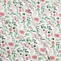 Jersey Stoff mit kleinen Rosen, weiß, rosa grün Bild 8