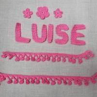 gehäkelte Borte 10 cm, Häkelborte, Pomponborte Handarbeit, Farbe wählbar, Bordüre mit Bommel Bild 4