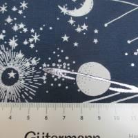Baumwolljersey mit silber Glitzer Universum Weltall  Oeko-Tex Standard 100(1m/14,-€) Bild 4
