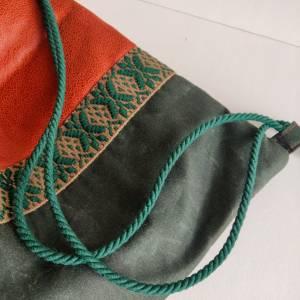 Yogatasche - Gymbag aus Kunstleder und Oilskin in cognac und dunkelgrün Bild 3