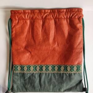 Yogatasche - Gymbag aus Kunstleder und Oilskin in cognac und dunkelgrün Bild 5