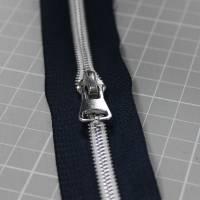 Endlos-Reißverschluss Metalloptik in marine 6mm Meterware Bild 4