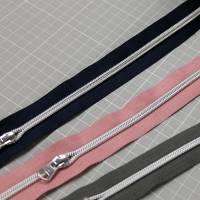 Endlos-Reißverschluss Metalloptik in marine 6mm Meterware Bild 7