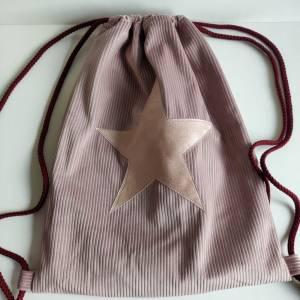 Yogatasche - Gymbag aus Cordstoff in rosa mit einem rosa STERN Bild 1
