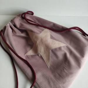 Yogatasche - Gymbag aus Cordstoff in rosa mit einem rosa STERN Bild 2