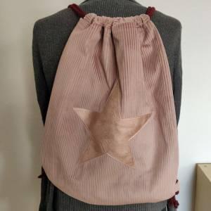Yogatasche - Gymbag aus Cordstoff in rosa mit einem rosa STERN Bild 3