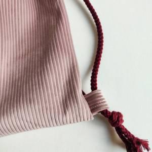 Yogatasche - Gymbag aus Cordstoff in rosa mit einem rosa STERN Bild 4