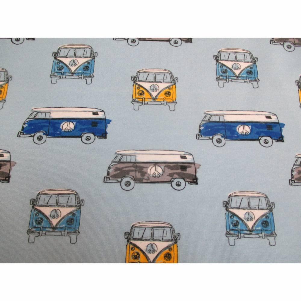 French Terry Baumwolljersey Transporter Bus  hellblau (1m/17,-€)  Bild 1
