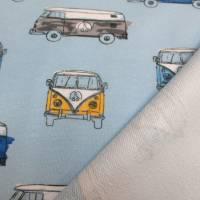 French Terry Baumwolljersey Transporter Bus  hellblau (1m/17,-€)  Bild 2
