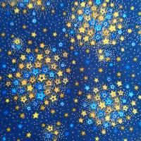 Patchworkstoff kleine Blättchen goldumrandet auf oliven Untergrund , Robert Kaufmann Nr. 20 Bild 5