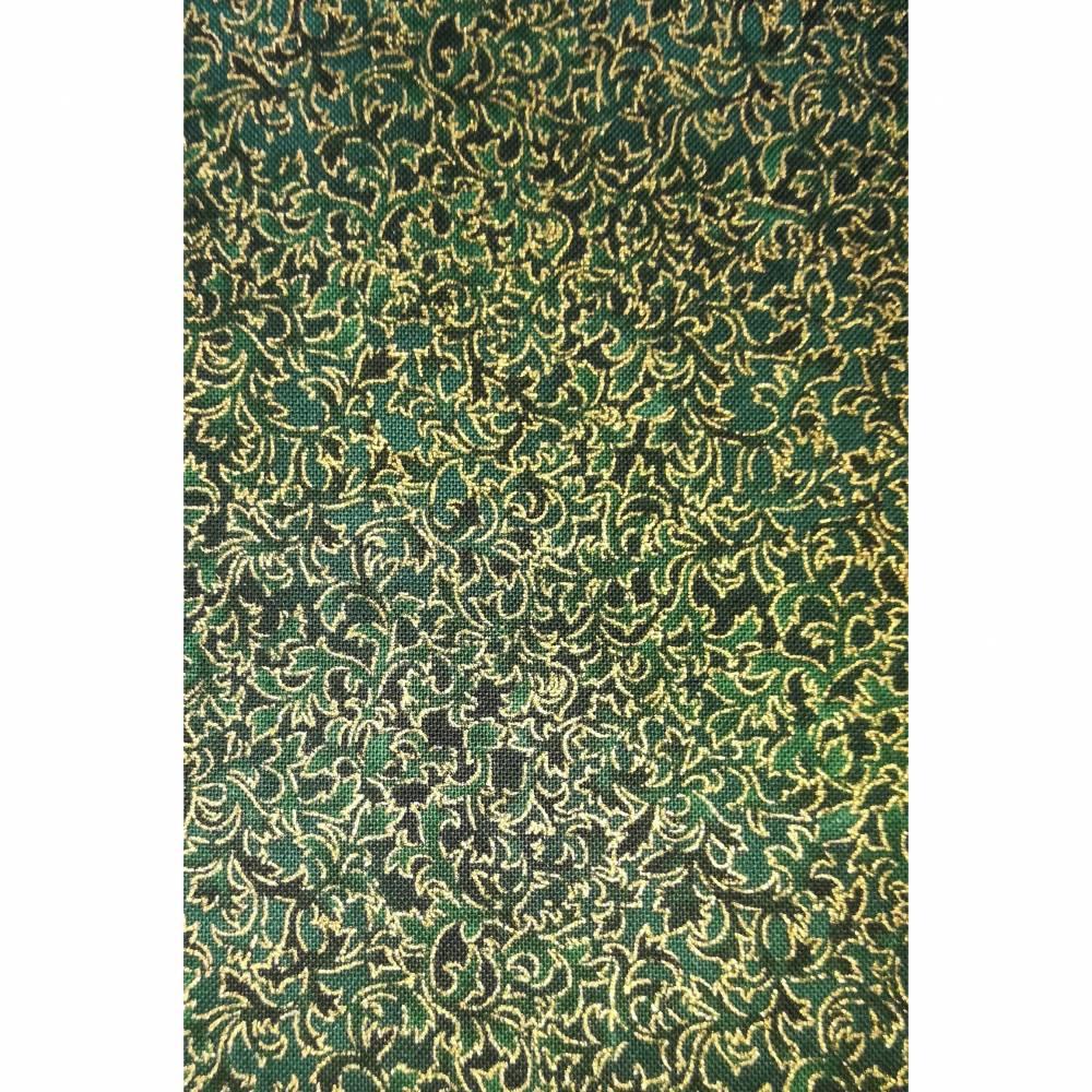 Patchworkstoff kleine Blättchen mit gold auf grünem Untergrund , Fusions D 6644 - 29 Robert Kaufmann Nr. 12 Bild 1
