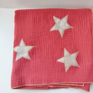 Musselintuch in rostrot mit beigen Glitzer Sternen Bild 5