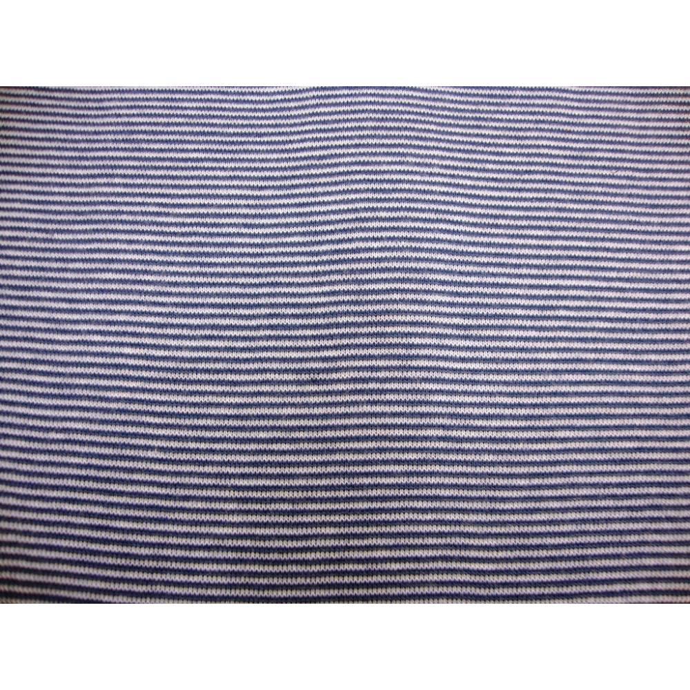 0,50m Bündchenstoff Schlauchware weiss/ jeansblau geringelt 1mm 50cm Schlauch Öko-Tex Standard 100-Meterware Glünzstoffe Bild 1