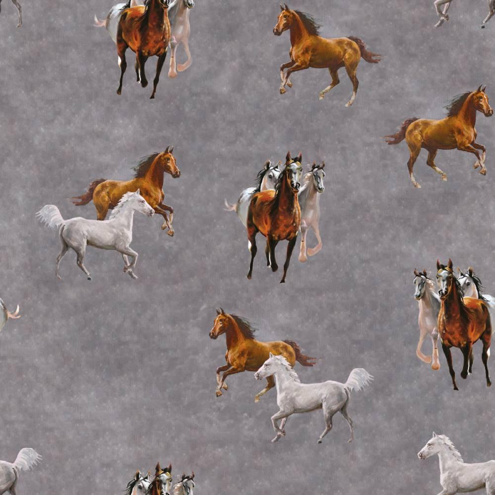 Softshell mit  Fleece-Abseite  Pferde grau ( 1m/14,00€ ) Bild 1