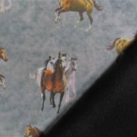 Softshell mit  Fleece-Abseite  Pferde grau ( 1m/14,00€ ) Bild 6
