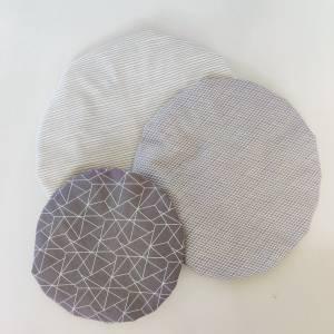 Schüsselhauben für runde Schüsseln, grau, 3 Größen im Set,  waschbar, wiederverwendbar, nachhaltig Bild 1