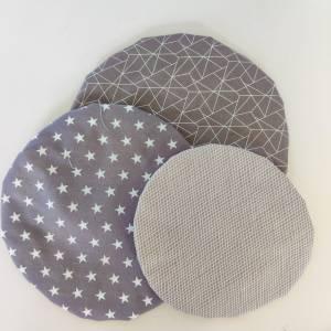 Schüsselhauben für runde Schüsseln, grau, 3 Größen im Set,  waschbar, wiederverwendbar, nachhaltig Bild 2