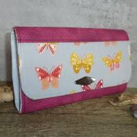 Geldbörse Groß Geldbeutel Damen Schmetterlinge Pink Kunstleder Portemonnaie Bild 1