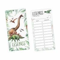 Lesepass Dinosaurier Lesezeichen zum lesen üben Grundschule Bild 1