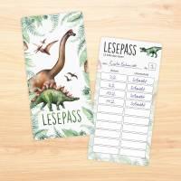 Lesepass Dinosaurier Lesezeichen zum lesen üben Grundschule Bild 4