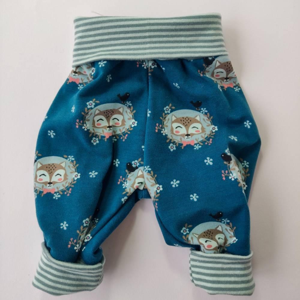 Baby Pumphose  Mitwachshose Sweatshirt Stoff petrol mit Fuchs Größe 50/56 Bild 1