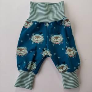 Baby Pumphose  Mitwachshose Sweatshirt Stoff petrol mit Fuchs Größe 50/56 Bild 2