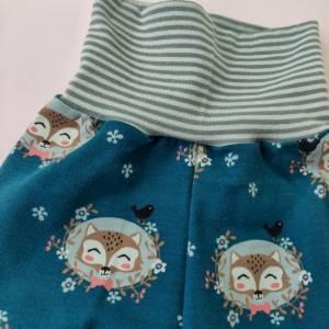 Baby Pumphose  Mitwachshose Sweatshirt Stoff petrol mit Fuchs Größe 50/56 Bild 3