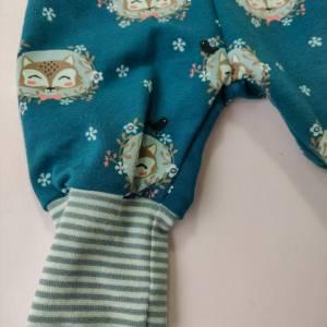 Baby Pumphose  Mitwachshose Sweatshirt Stoff petrol mit Fuchs Größe 50/56 Bild 4