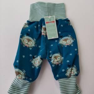 Baby Pumphose  Mitwachshose Sweatshirt Stoff petrol mit Fuchs Größe 50/56 Bild 5