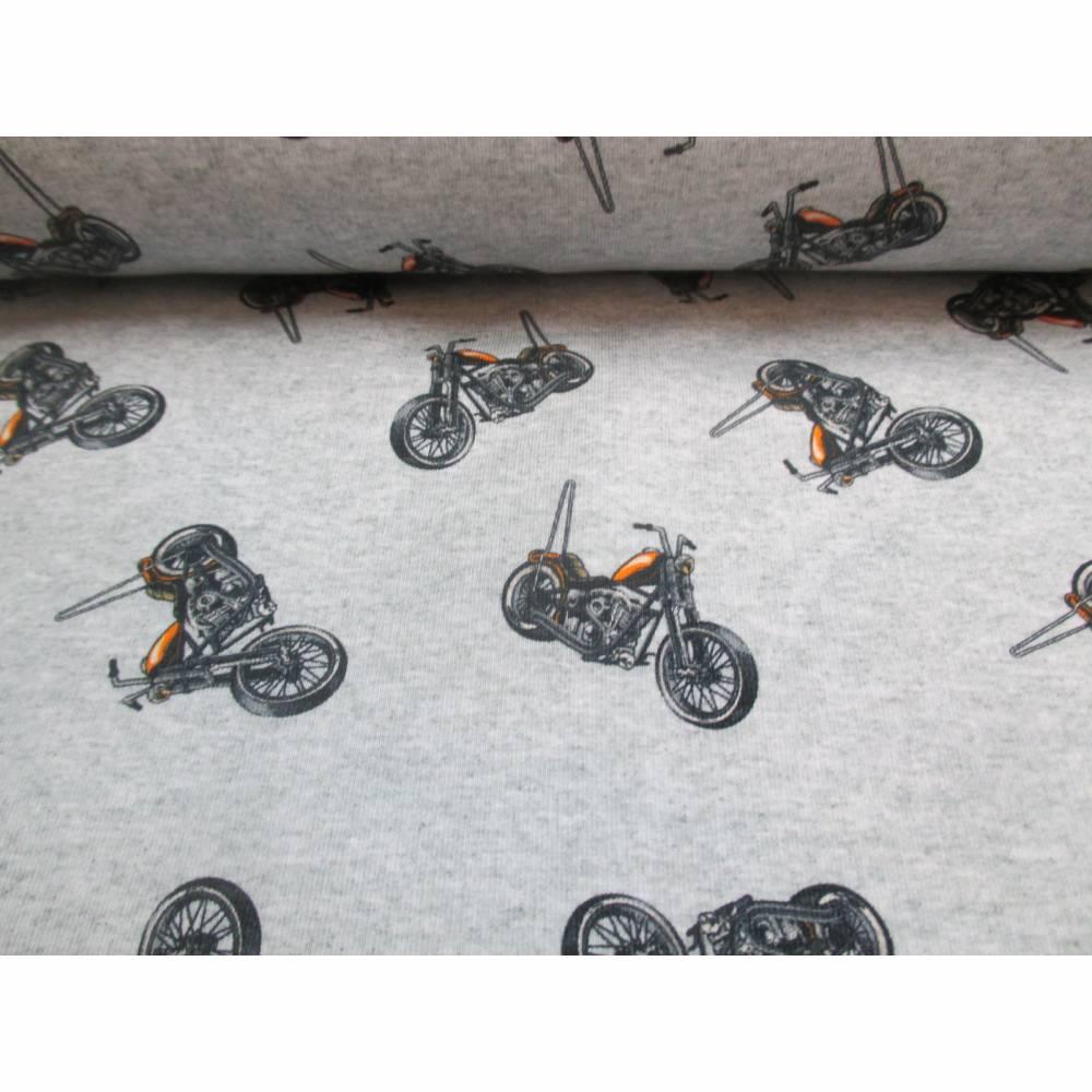 French Terry Baumwolljersey Motorrad hellgrau meliert Ökotex 100 (1m/17,-€)  Bild 1