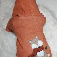Lammfleece Overall, Anzug, mit Klappbündchen, komplett gefüttert, mit Fuchsstickerei in Grösse 56/62 Bild 5