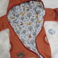 Lammfleece Overall, Anzug, mit Klappbündchen, komplett gefüttert, mit Fuchsstickerei in Grösse 56/62 Bild 6