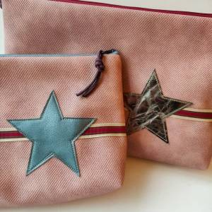 Kulturtasche aus rosa Kunstleder in zwei Größen mit STERN Bild 2