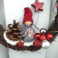 Türkranz aus Weide, Winterkranz, Deko-Kranz für den Winter, Adventskranz mit Wichtel, Naturkranz für Weihnachten Bild 2