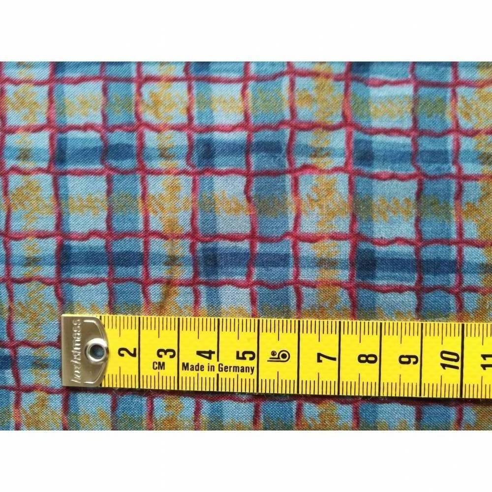 Patchworkstoff, blau karierter Quiltstoff  mit roten, blauen und gelben  Streifen -  SSI Studio Nr. 045 Bild 1