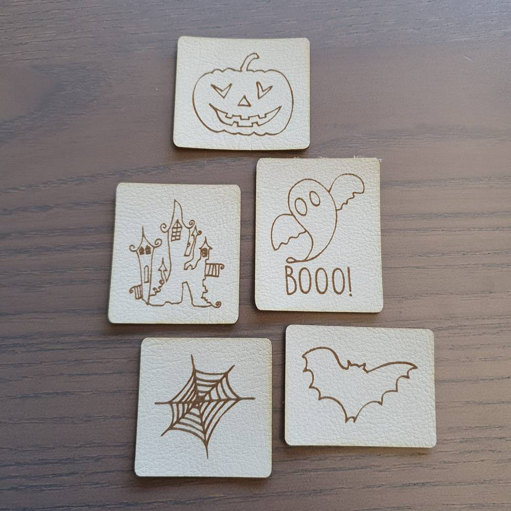 "Set Kunstlederlabel, 5 Teile ""Halloween"" Bild 1"