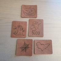 "Set Kunstlederlabel, 5 Teile ""Halloween"" Bild 2"