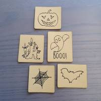 "Set Kunstlederlabel, 5 Teile ""Halloween"" Bild 3"
