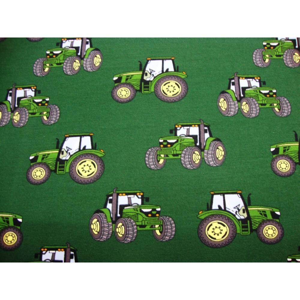 Baumwolljersey Druck grüner Trecker auf dunkelgrün Bulldog Landwirtschaft-Maschinen Glünzstoffe Jungs Männer Geschenke  Bild 1